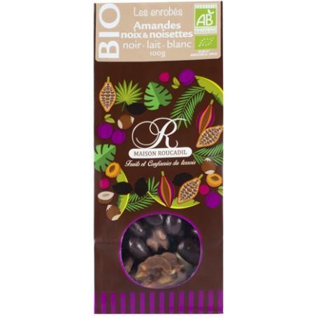 Amandes, noix et noisettes BIO enrobées de chocolats BIO noir, lait, blanc 100g