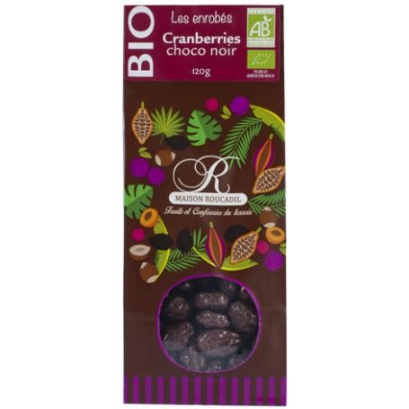 Cranberries BIO enrobées de chocolat noir BIO - sachet 120g
