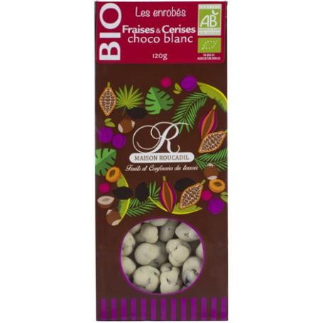 Fraises et cerises BIO enrobées de chocolat blanc BIO - sachet 120g
