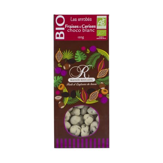 enrobés fraises et cerises choco blanc BIO