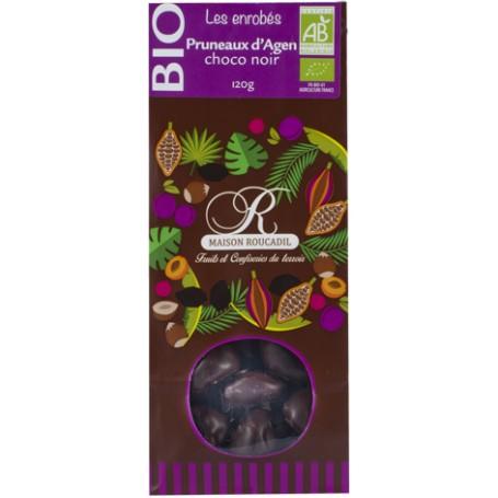Pruneaux d'Agen BIO enrobés de chocolat noir BIO - sachet 120g