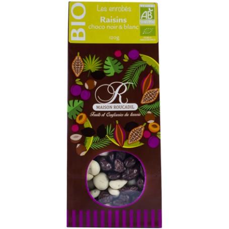 Raisins BIO enrobés de chocolat noir et blanc BIO - sachet 120g