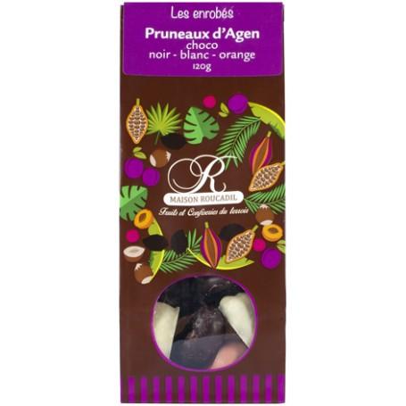 Pruneaux d'Agen enrobés de chocolats noir, blanc et aromatisé orange 120g