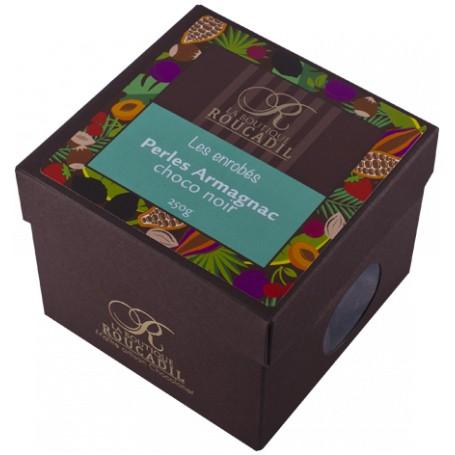 Perles Armagnac enrobées chocolat noir - boîte 250g