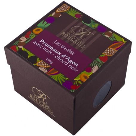 Pruneaux et noix enrobés de chocolat noir - boîte 250g