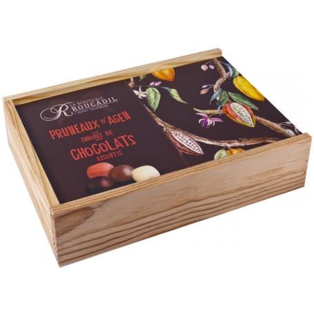 Pruneaux enrobés de chocolats assortis - Coffret bois 800g