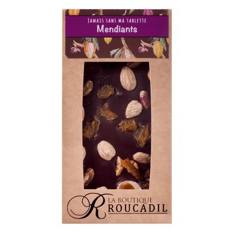 Tablette chocolat noir mendiant - 100g