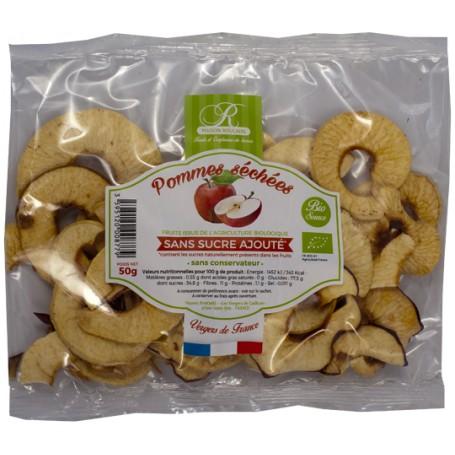 Pommes de nos vergers séchées en rondelle BIO - origine France - sachet 50g